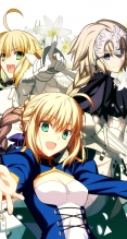 Fate/stay night,Fate/hollow ataraxia【セイバー・ブライド,セイバー(Fate/EXTRA),セイバー,ジャンヌ・ダルク(Fate/Apocrypha)】武内崇,iPhone6 PLUS(1080×1920) #54461